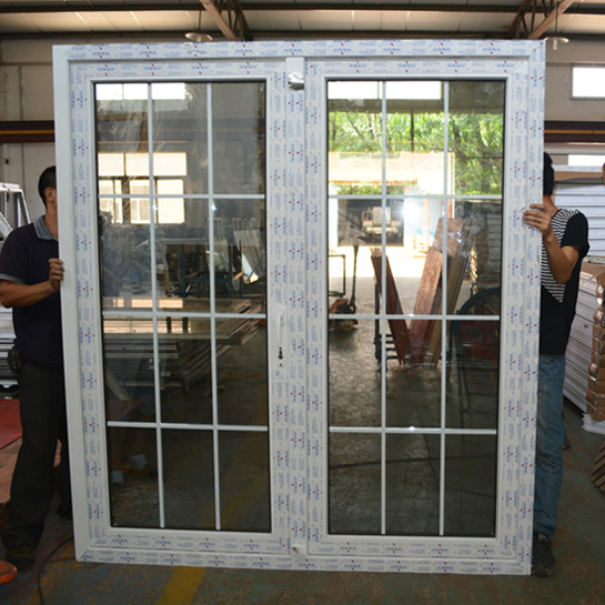 White Colour UPVC Profile Casement Door with Grid K02034