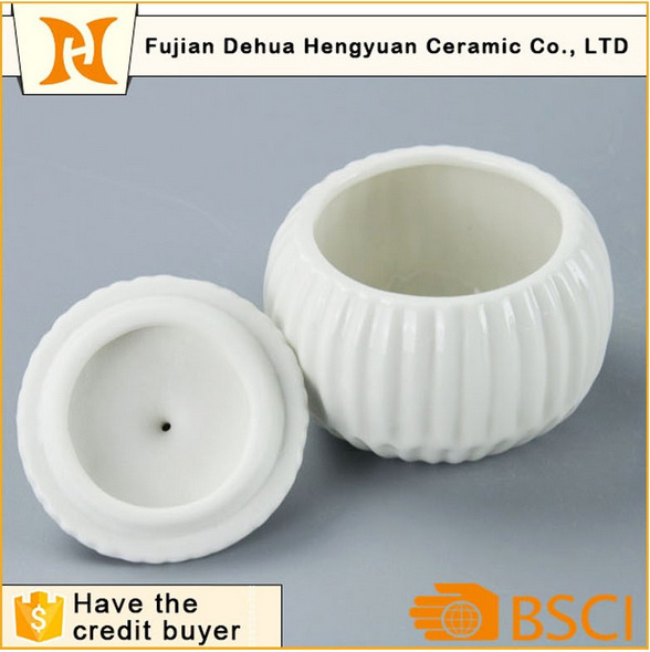 Glazed White Ceramic Sugar Pot for Home Decoration