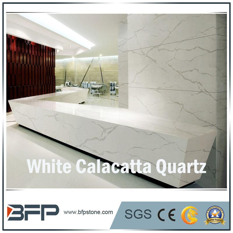 Elegant White Calacatta Quartzs for Slabs/Tiles/Countertops Interior Design