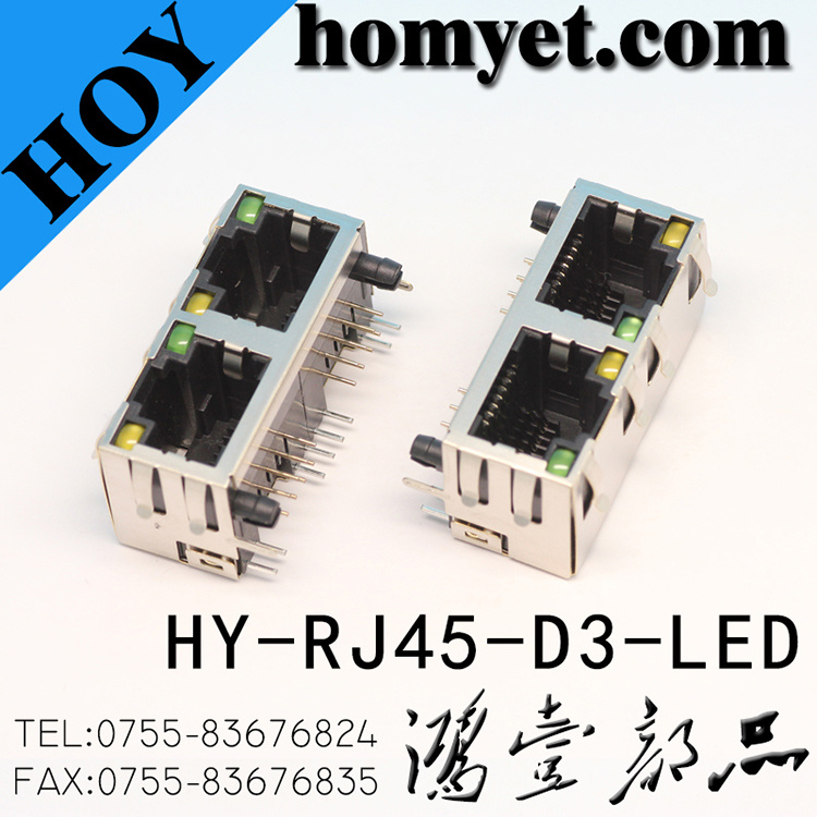 Double 8p8c RJ45 Female Connector/RJ45 Socket with LED (HY-RJ45-D3-LED)
