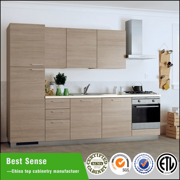 China wood grain melamine finish laminate mfc kitchen for Plastic laminate kitchen cabinets
