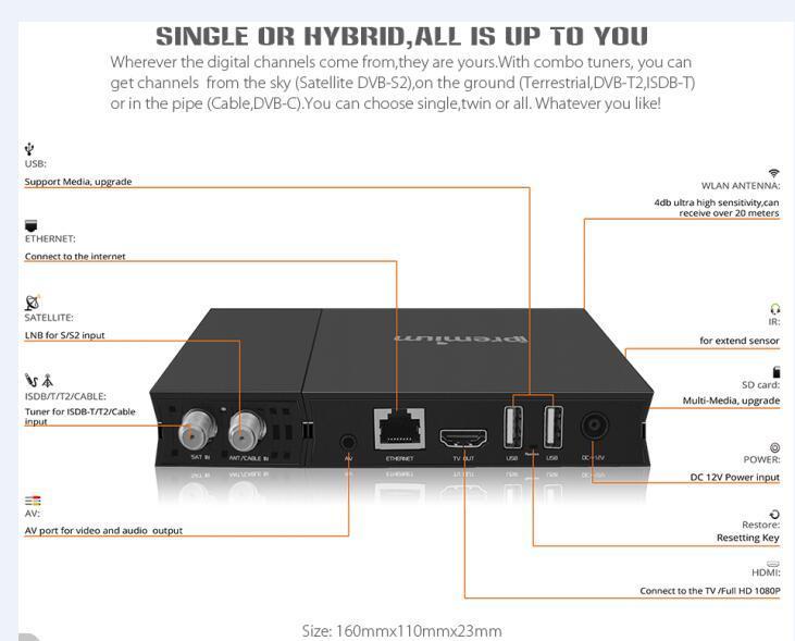 Android OS DVB-T / DVB-S / DVB-C + IPTV Combo Dreambox