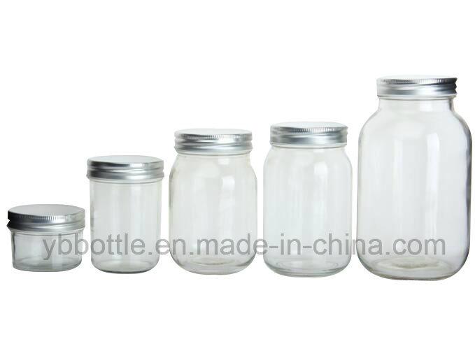 12oz/380ml 16oz/520ml 26oz/780ml Round Glass Mason Jars with Gold/Silver/White/Black Metal Lids