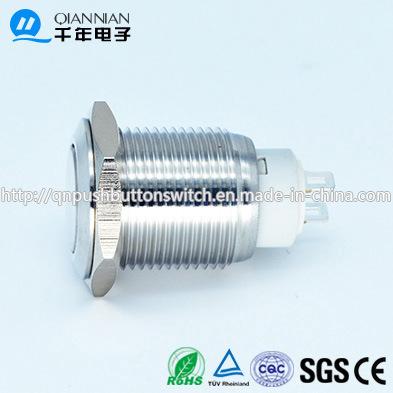 Qn16-E1 16mm Latching Flat Head 2pin Latching Sliver Push Button Switch