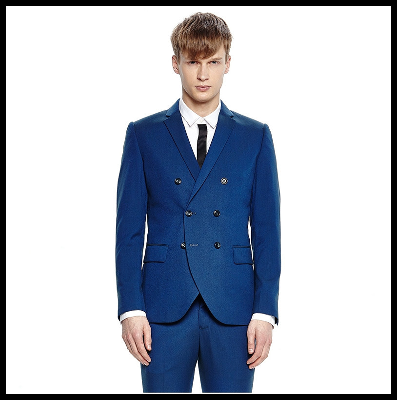 New Design Made to Measure Slim Fit Double Breasted Fashion Men Blue Suit