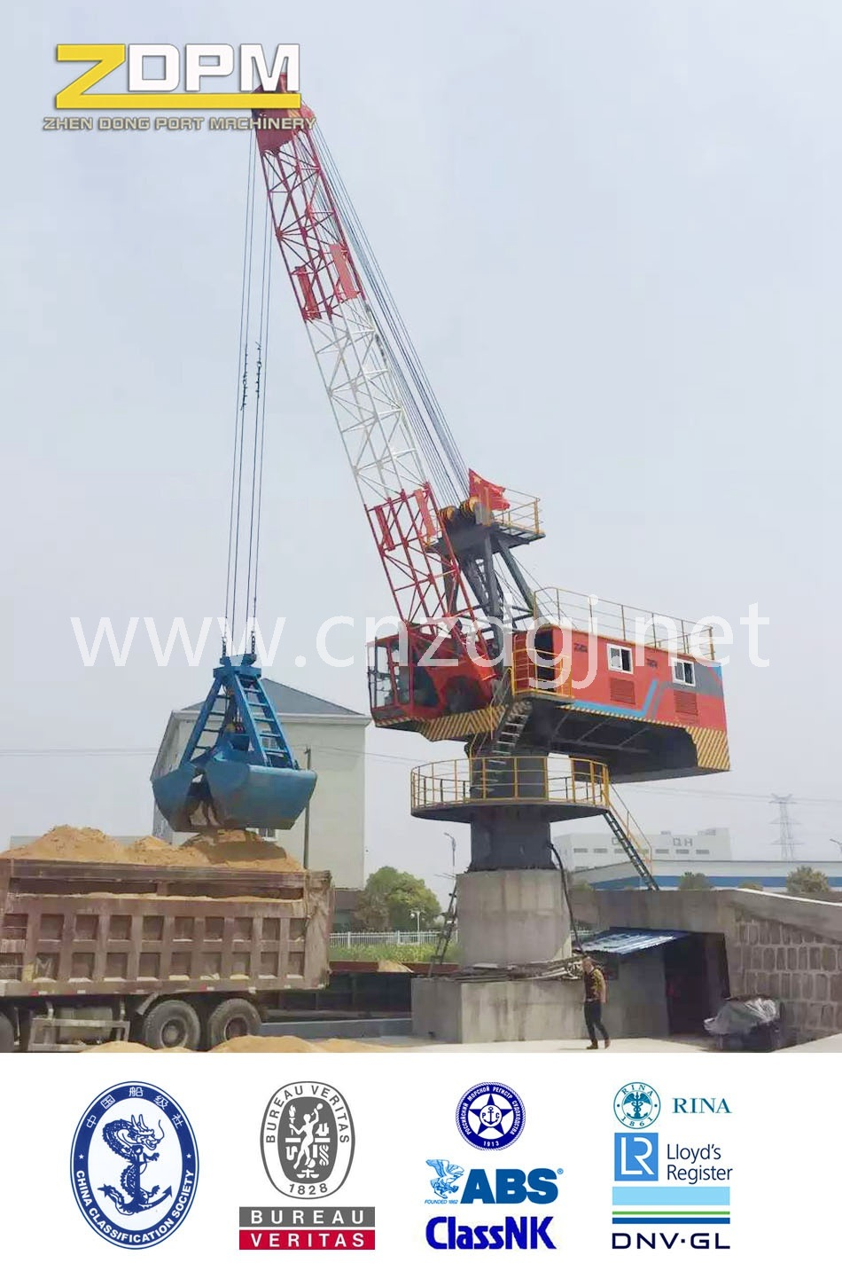 360° Rotation Single Jib Portal Fixed Crane in Port for Loading