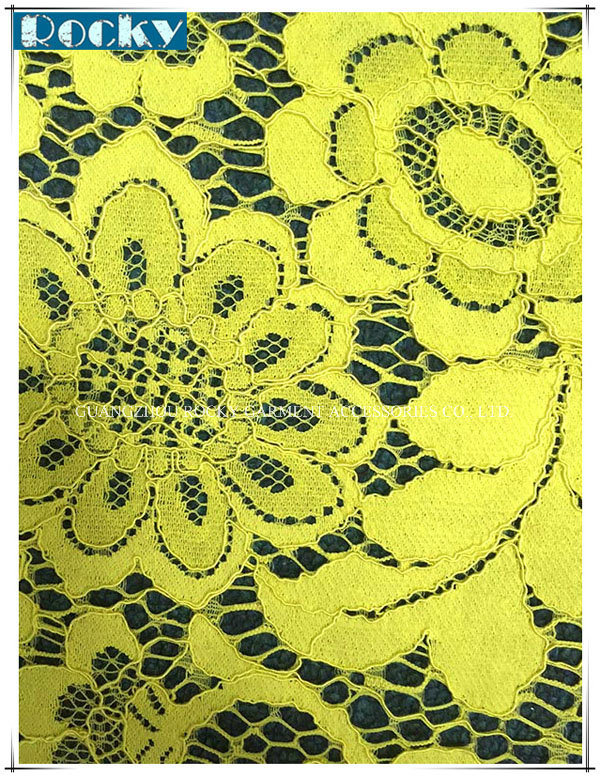 Yellow Flower Fabric Polyester Lace for Bridal Lace