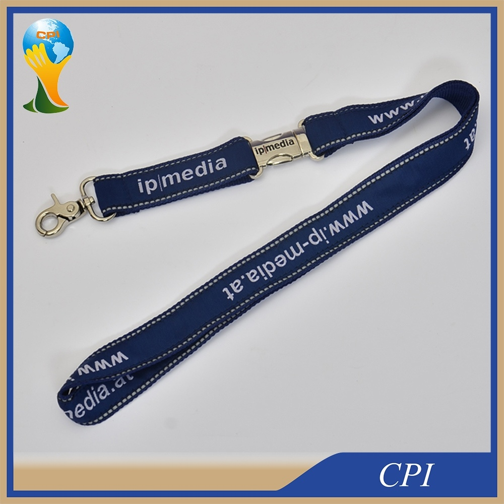 High Quality Reflective Lanyard with Laser Logo Metal Buckle