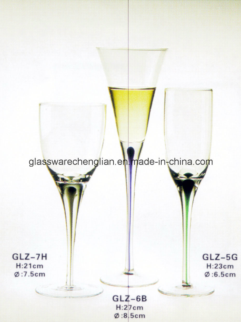 Wine Glass with Colored Tearful Stem (GLZ-7H)