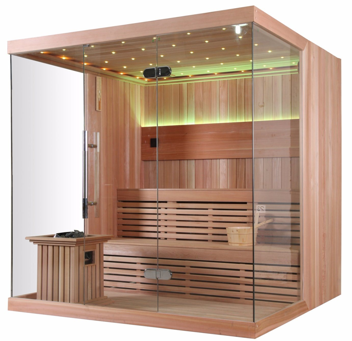 Deluxe Style Solid Wood LED Light Touch Panel Easy Installation Sauna House (M-6042)