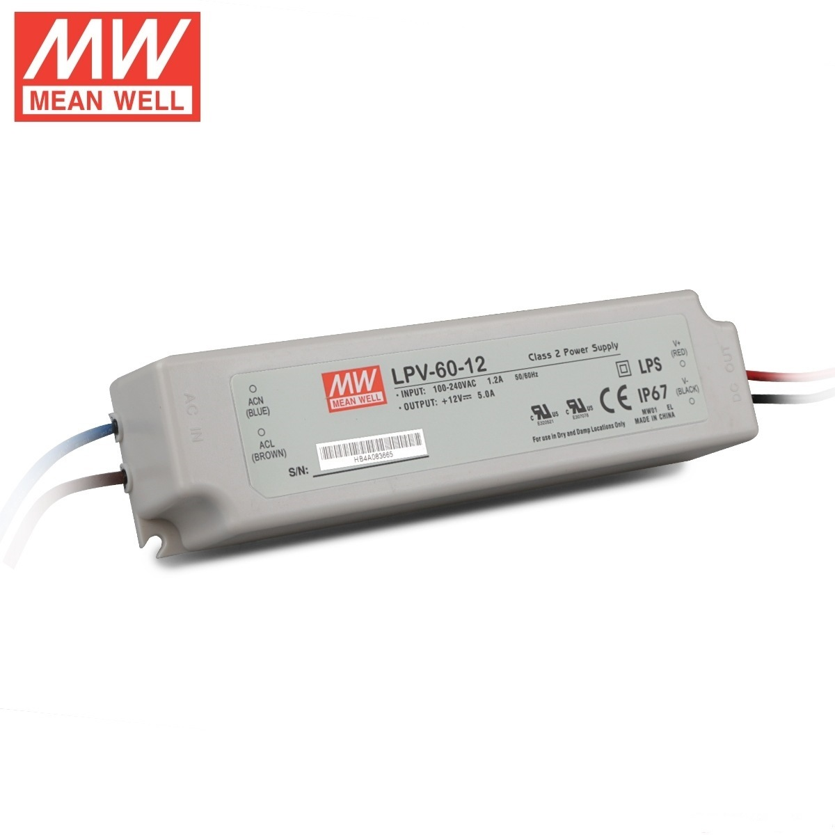 Waterproof Meanwell Lpv-60 12V IP67 LED Switching Power Supply