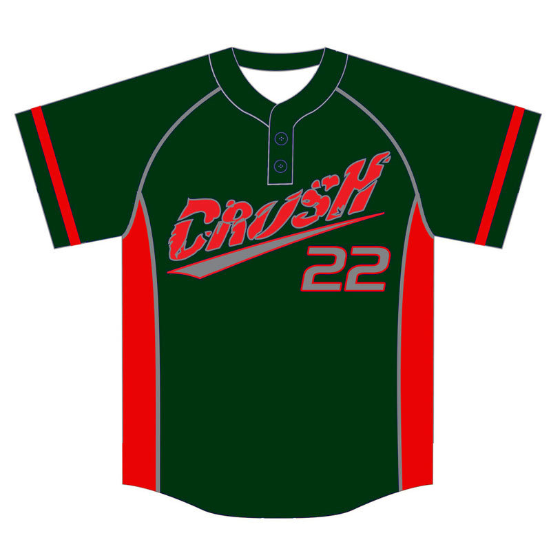 Custom Green Sublimated Baseball Jersey with Two Buttons
