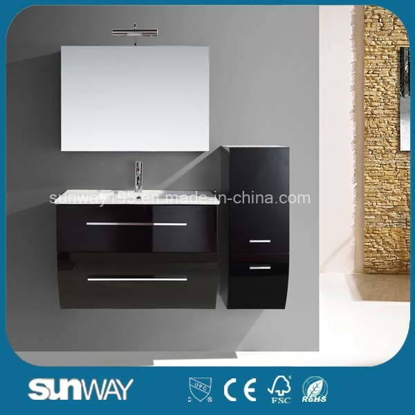 Hot Sale Black Painting MDF Bathroom Cabinet with Sink (SW-1314)