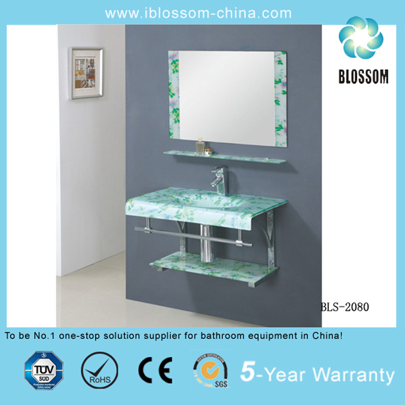 Bathroom Vanity Glass Washing Basin with Silver Mirror (BLS-2080)