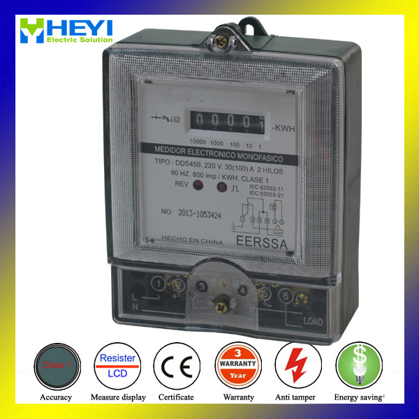 Single Phase Kwh Meter Single Phase Three Wire Transparent Cover