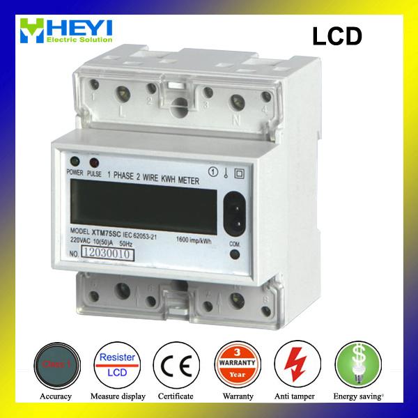 Single Phase DIN Rail 4 Pole Digital Power Meter