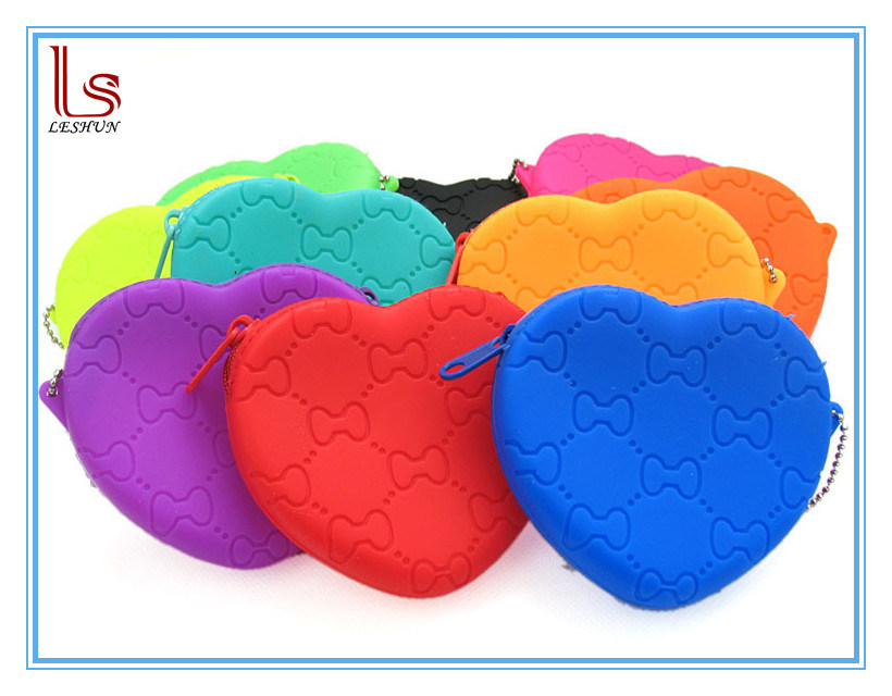 2017 New Love Heart Shape Silicone Purse Wallets