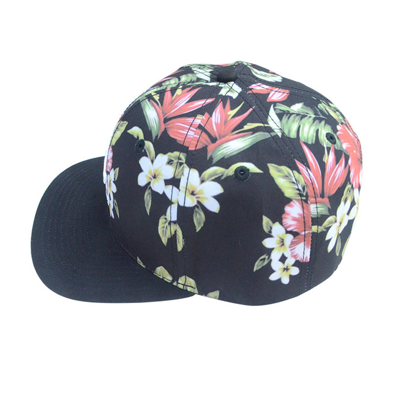 Custom Caps and Hats Floral 6 Panels Polyester Snapback Hat
