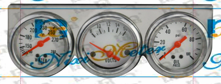 The Mechanical Triple Gauge with Voltmeter, Water Temperature Gauge and Oil Pressure Gauge