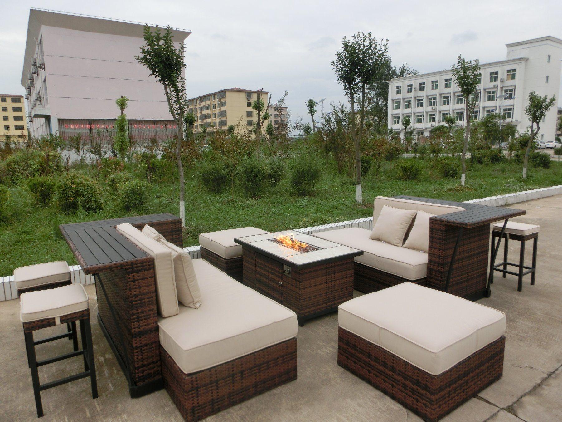 Patio Sofa Set with Fire Pit Table Modular Sofa Set