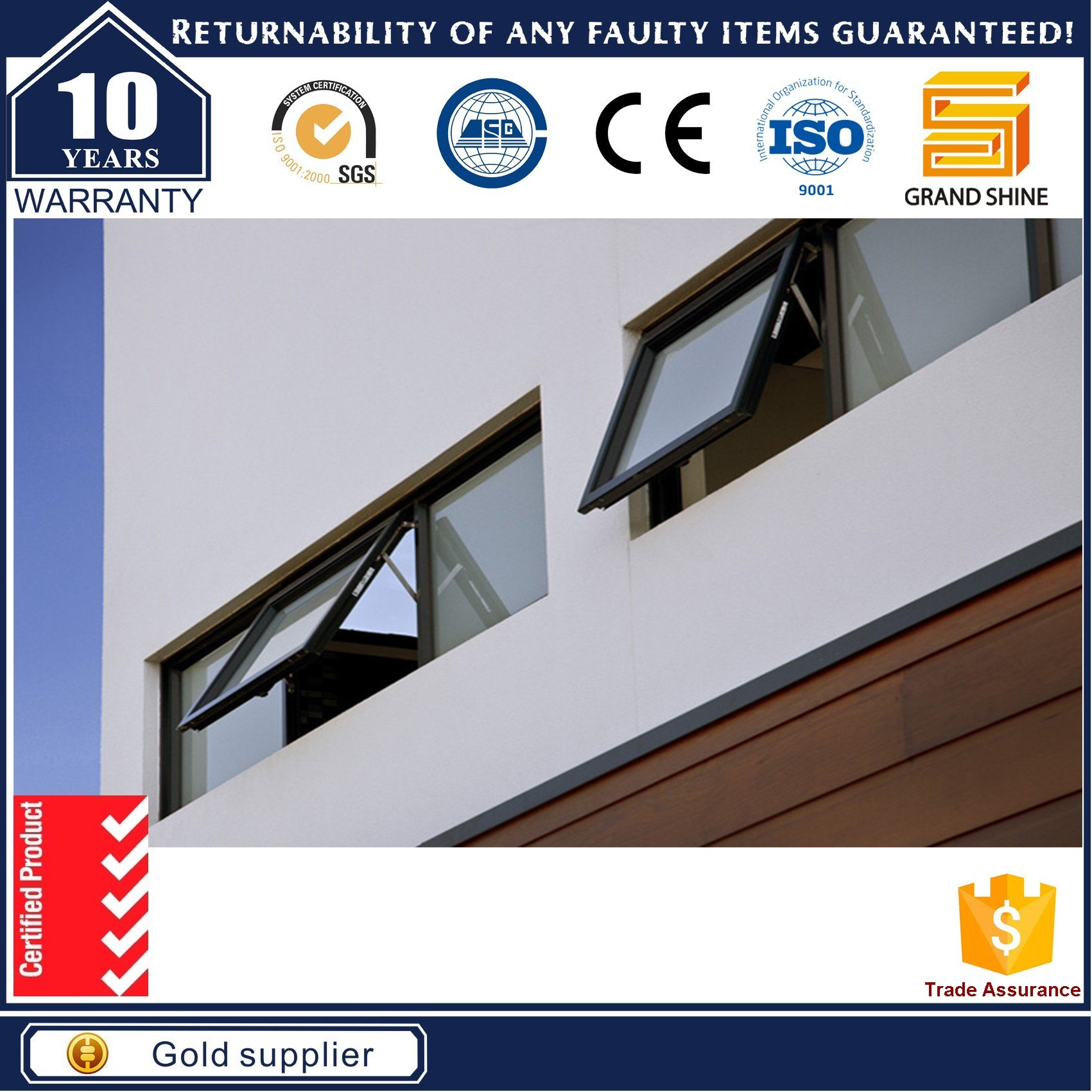 Australia Standard Large Glass Top Hung Windows