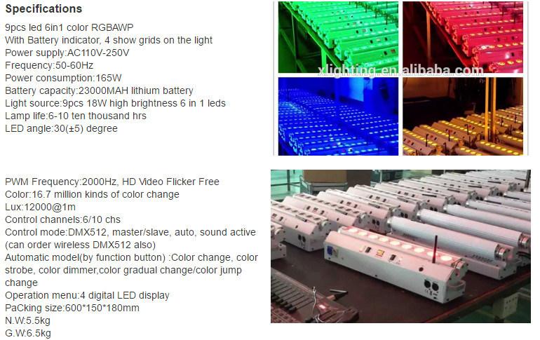 9PCS Battery Powered Wireless DMX Wall Washer Light
