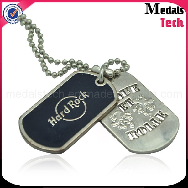 Zinc Alloy Custom Metal Shiny Silver Finish Military Dog Tags