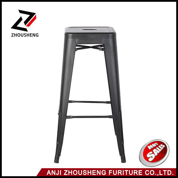 30′′ High Backless Silver Metal Indoor-Outdoor Barstool with Square Seat