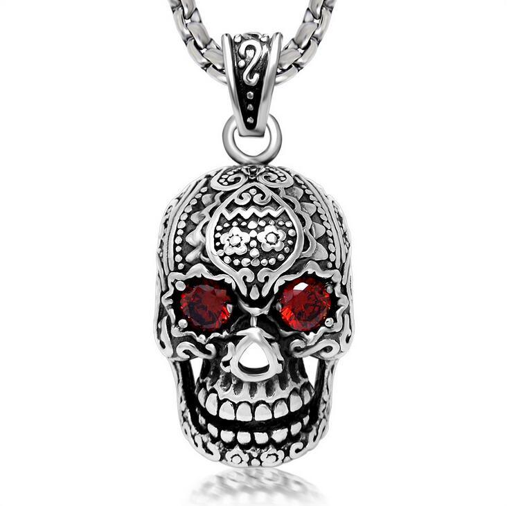 Gothic Skull Zircon Necklace Pendant 316L Stainless Steel Jewelry