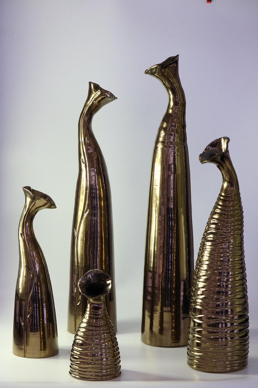 Creative Trumpet Gold Glaze Handmade Ceramic Craft Ornaments Vase
