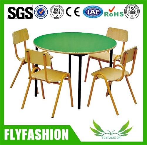 Kids Furniture Green Wood Children Round Table