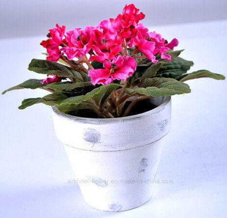 Multicolor Artificial Plastic Flower Violet in Paper Mache Pot for Decoration