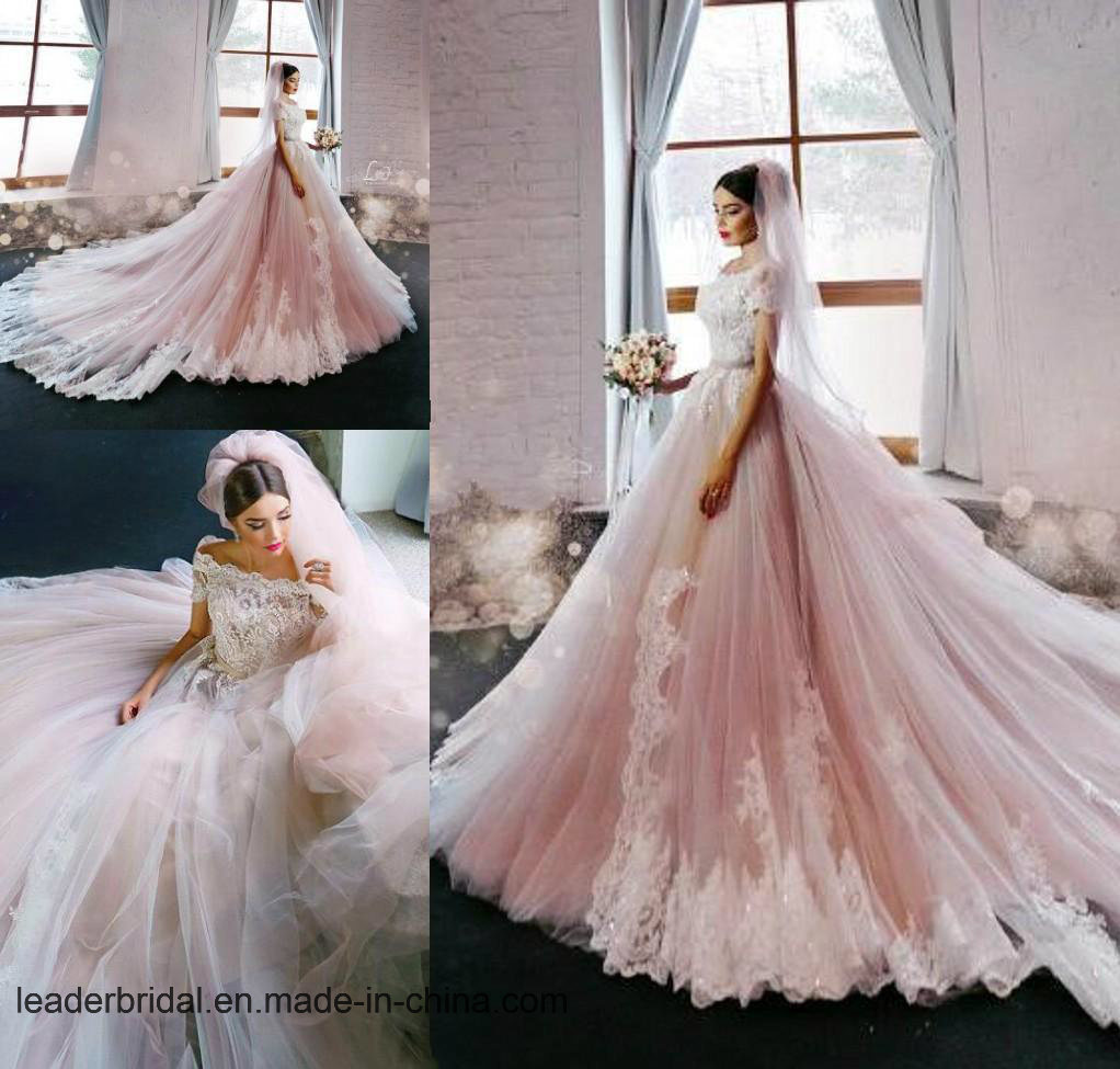 Short Sleeves Bridal Dresses Pink Lace Tulle Wedding Ball Gown ND06
