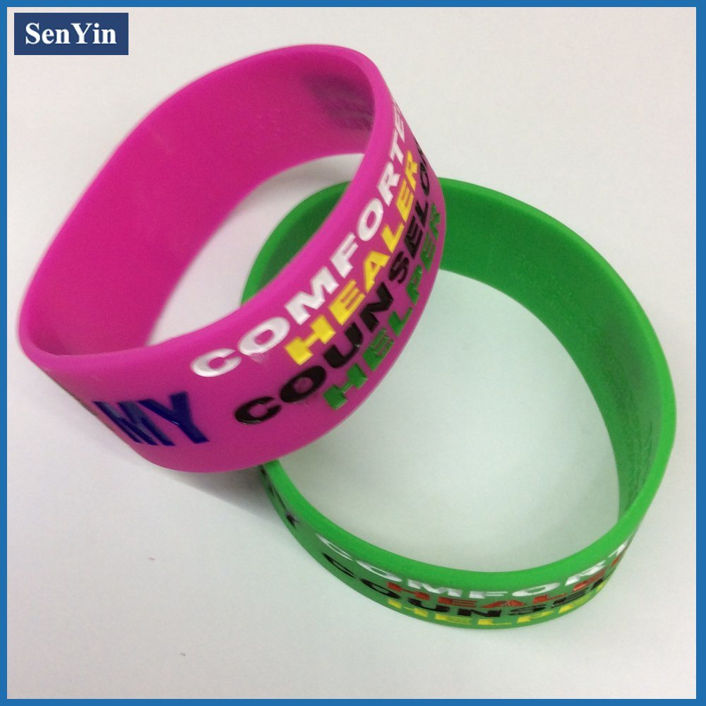 Debossed Color Filling Wrist Bracelet Silicone Band
