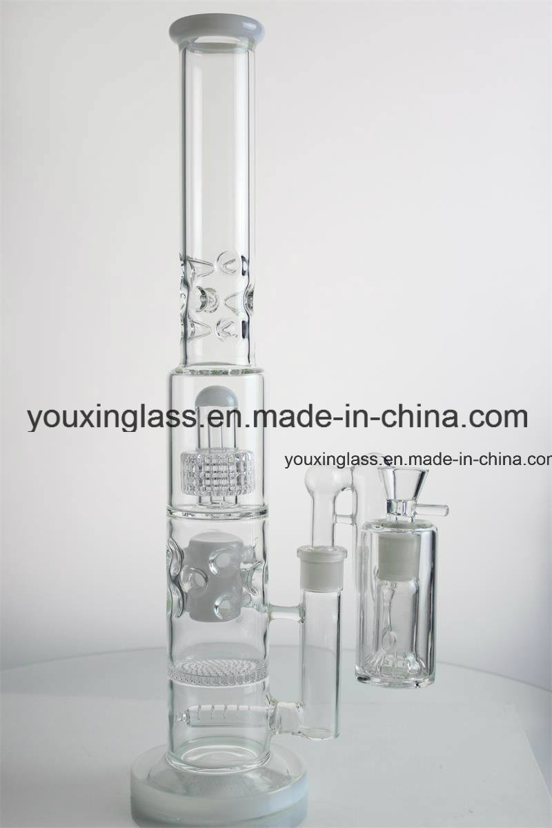 Glass Smoking Pipe Glass Water Pipe with Little Tyre and Blue Holey Drum Honeycomb