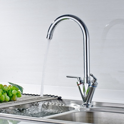 Kitchen Sink Faucet Chrome Cast Dual Handle 360 Degree Rotating
