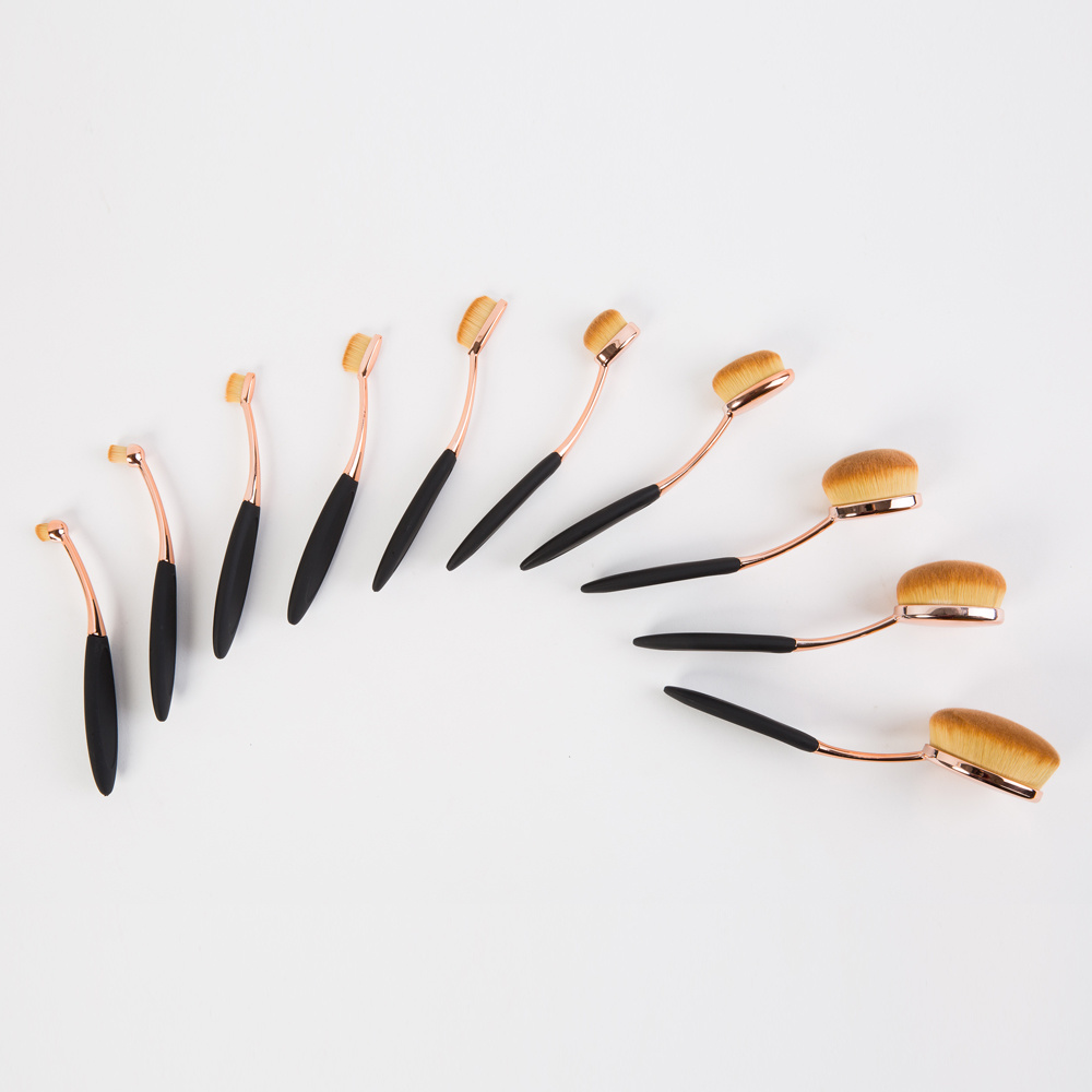 Professional Oval Toothbrush Makeup Brush Set 10PCS for Chirstmas Gift