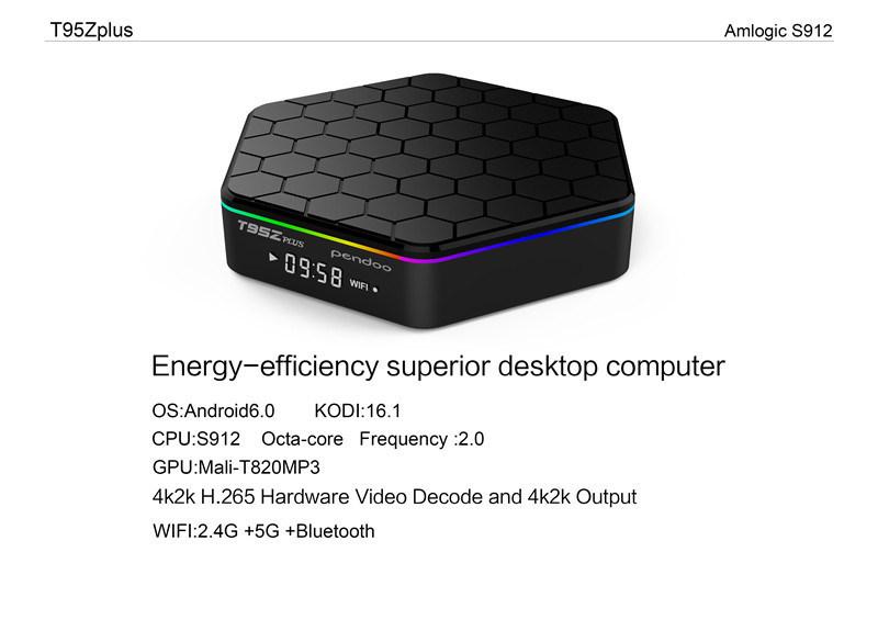 Ethernet 100m/1000m Smart Google TV Box Full HD Android 6.0 Marshmallow TV Box Codi Octa Core Pendoo T95z Plus