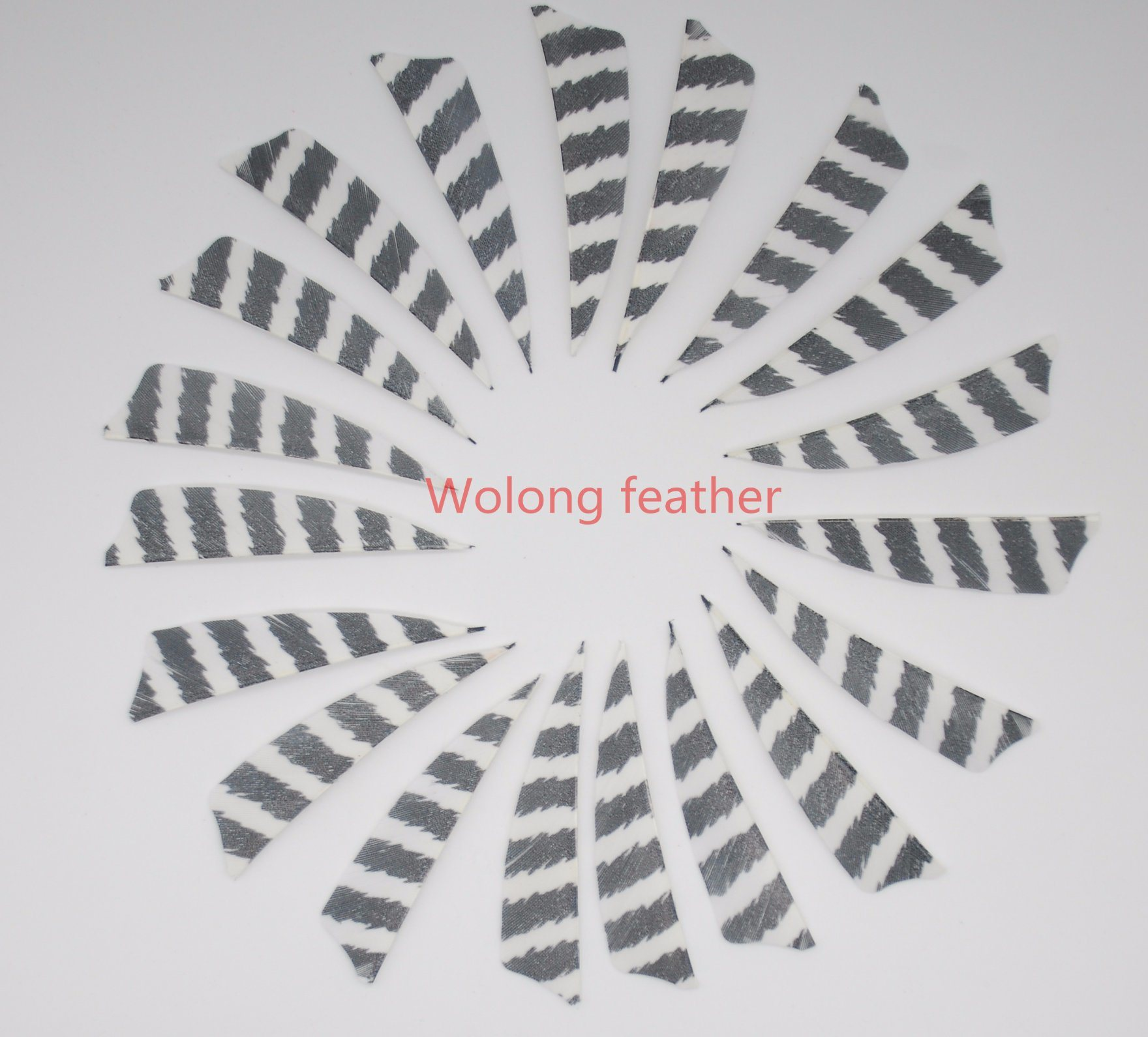 3 Inch Striated Right Wing Shield Feather for Archery Double Color Barred