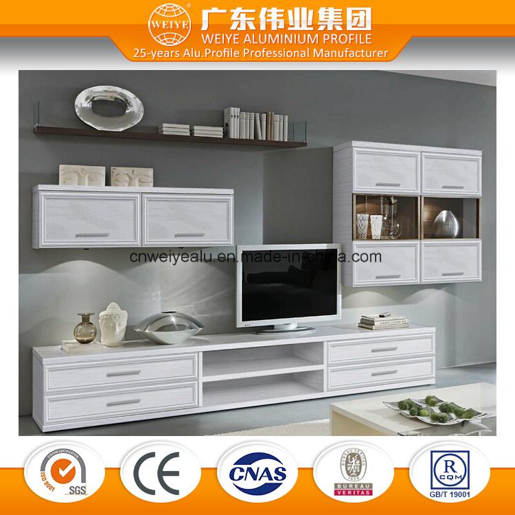Durable Aluminium TV Cabinet Combination Living Room Cabinet Wood Grain Transfer Surface