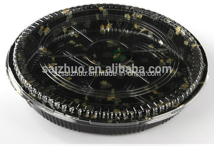 Round Floral Printed Top Grade Disposable Plastic Sushi Tray (S64R)