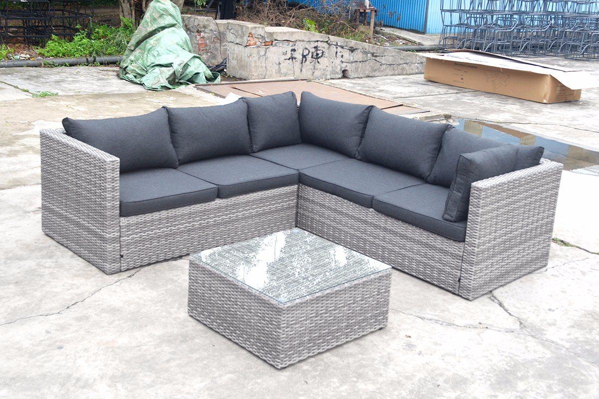 Patio Outdoor Garden Furniture Flat Wicker Alum Rattan Sofa (J721KD)