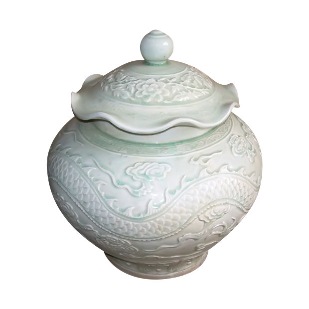 Ceramic Carving Pot with Lid (LW186)