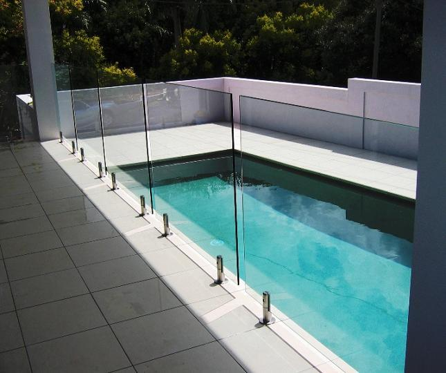 China glass pool fencing with 316 stainless steel clamp for Barriere piscine verre prix