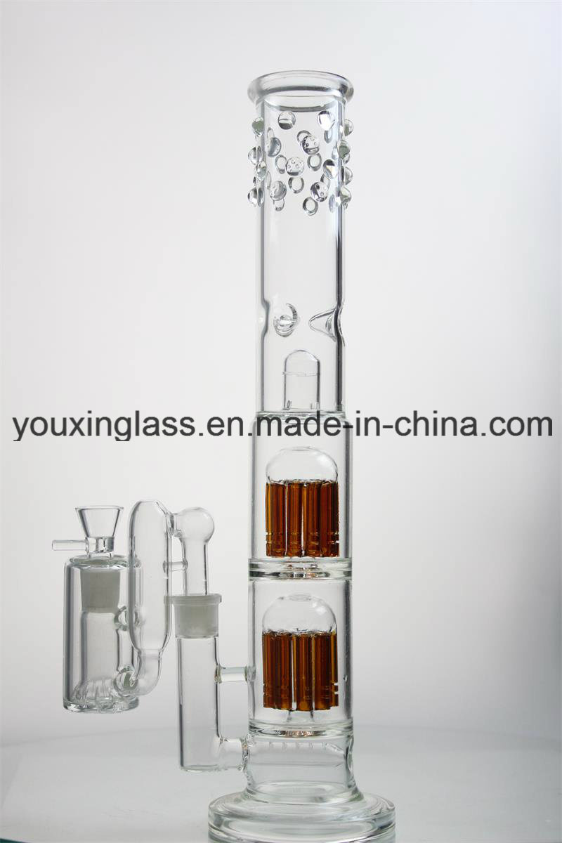 17′′ Glass Smoking Pipe Glass Water Pipe with Two Brown Arm Tree and Thick Base