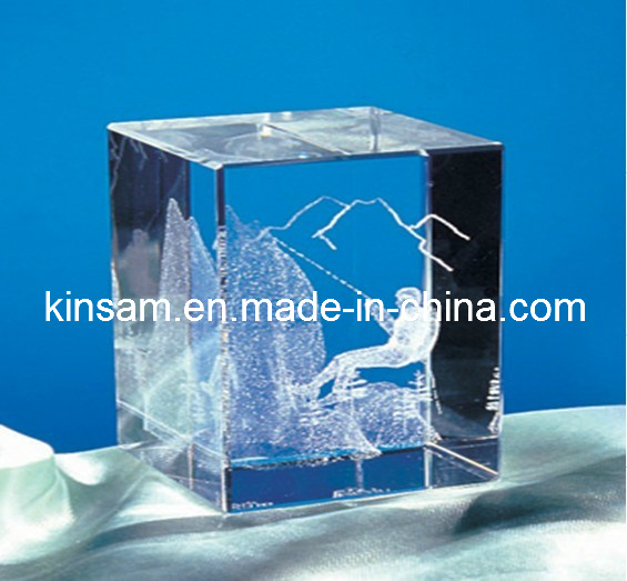 80mm Optic K9 Crystal Blank Cube Paperweight (KS11021)