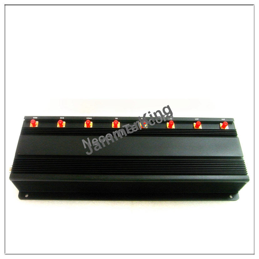 GSM900/1800+3G2100+2.4G WiFi +Remote Control+Gpsl1+Lojack Signal Jammer; Stationary 8 Bands Cell Phone Jammer/Blocker