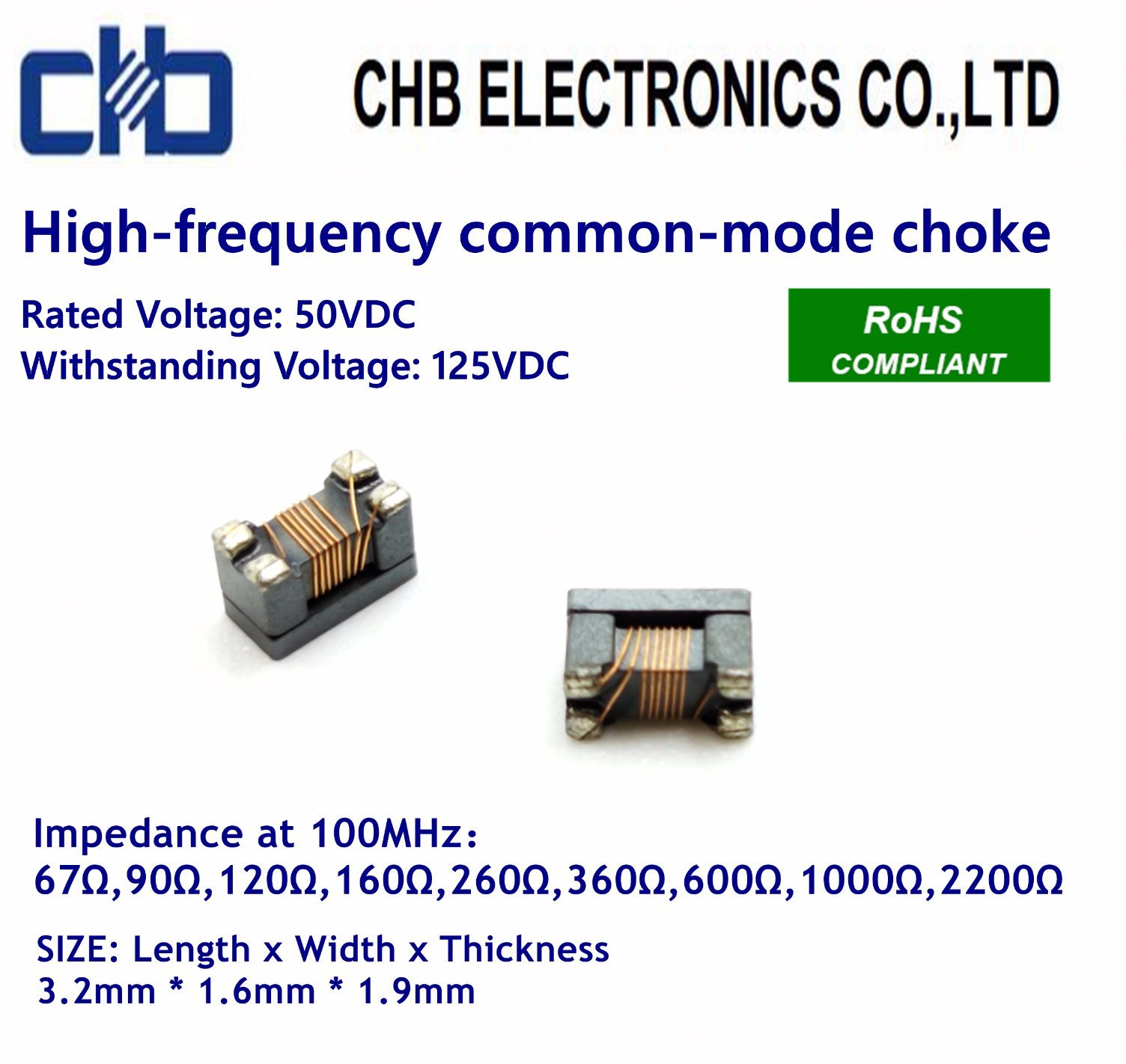 High-Frequency Common-Mode Choke 3216 (1206) for USB2.0/IEEE1394 Signal Line, Impedance~600ohm at 100MHz, Size: 3.2mm * 1.6mm * 1.9mm