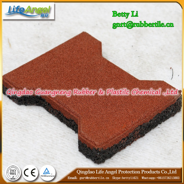 Environmental Red Dog Bone Colorful Rubber Paver
