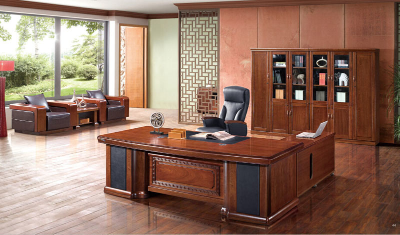 China luxury solid wooden office executive desk with left